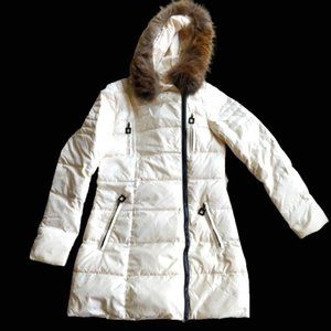 White Down Jacket, Mid Length, Size M
